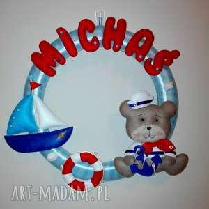 ręczne wykonanie pokoik dziecka personalizowana girlanda miś marynarz