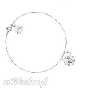 naszyjniki srebrna bransoletka kettlebell girl power, naszyjnik, zawieszka, łańcuszek