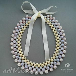 amelia - wiosenny, pastelowy, kolia, kołnierzyk, korale, perłowy