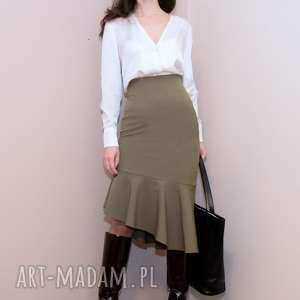 asymetryczna spódnica / oliwkowa - adrianna, z falbaną