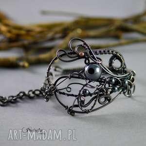 ręcznie robione bransoletki night ocean - bransoletka zainspirowana fantasy z hematytem