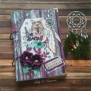 stylowy notes/pamiętnik boho - kolorowe sny, pamiętnik, notes, boho, wilk