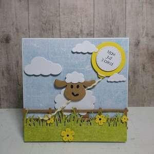 Zaproszenie / kartka owieczka Dolly, owca, farma, urodziny, narodziny