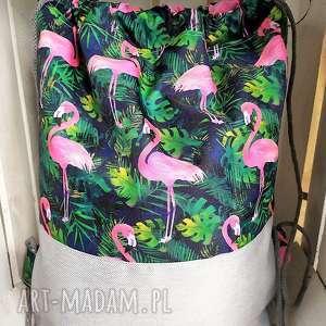 worek plecak flamingi na granacie, worek, plecak, wycieczki, spacery, zakupy