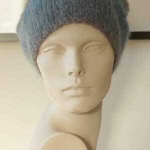 Czapka alpakowa niebieska czapki mondu czapka, dziergana, paki