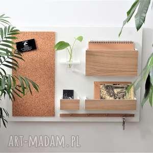 organizer ścienny, biały dąb, drewniany - organizer, na ścianę, dębowy
