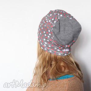 czapka damska dresowa handmade w kropki i grochy - czapka, damska, dresowa, dzianina