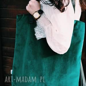 torba mr m velvet butelkowa zieleń/uszy skóra naturalna, torba, shopper