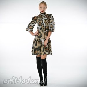 dobromiła- szyfonowa suknia w panterkę, szyfonowa, panterka, sukienka, lekka