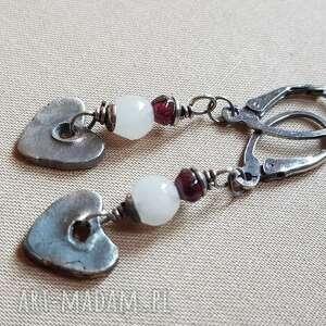 kolczyki z różowego jadeitu i srebra 703, srebro oksydowane, biżuteria