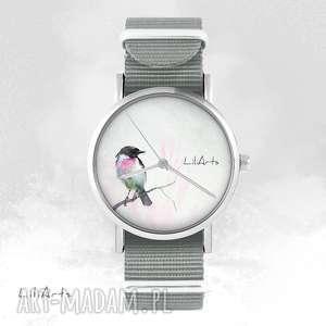 ręcznie wykonane zegarki zegarek, bransoletka - ptaszek szary, nato