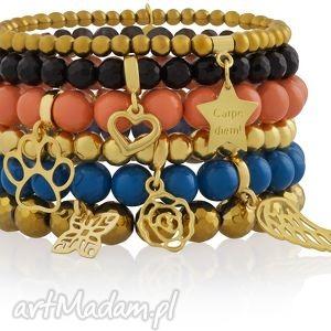 zestaw modowych bransoletek carpe diem swarovski złoto - perły