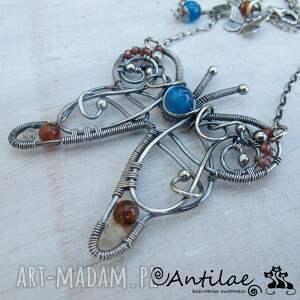 sommerfugl - agat, granat, wire wrapping - naszyjnik, motyl, srebro, wirewrapping