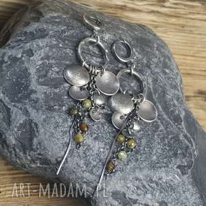 kolczyki srebrne z zielonymi granatami, srebro, na prezent