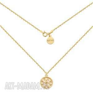 złoty naszyjnik z medalionem - łańcuch, pozłacany srebro925