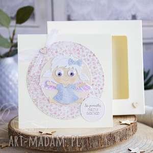 hand-made kartki kartka z aniołkiem w pudełeczku szybką. Personalizowana treść. Chrzest