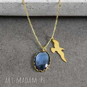 925 pozłacany srebrny łańcuszek w stylu vintage, kamień
