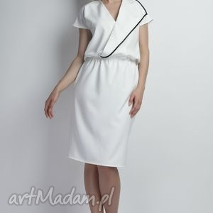 lanti urban fashion sukienka, suk119 ecru, asymetryczna, lamówka, midi, biała
