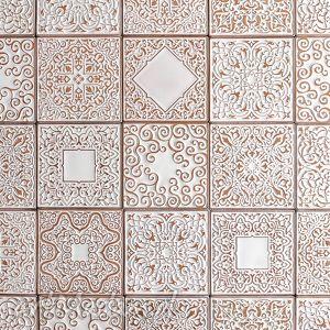 kafle białe arabeski, zestaw II, kafle, płytki, dekory, ścienne, marokańskie