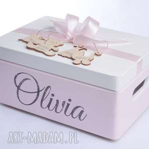 Pudełko na pamiątkę Kuferek wspomnień Skarby Roczek Narodziny Chrzest Metryczka