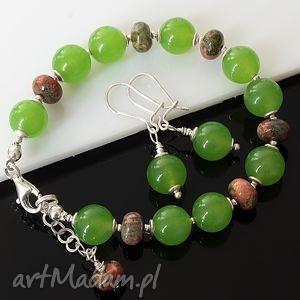 jadeit z unakitem, jadeit, unakit, srebro, delikatny, komplet biżuteria, święta