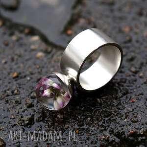 naszyjniki pierścionek z wrzosem żywicy i srebra, żywica, srebro, wrzos, kwiaty
