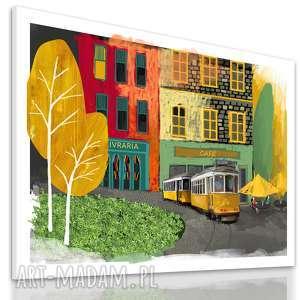 obraz na płótnie - żółtym tramwajem przez piękną lizbonę, format 120x80