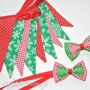 zestaw girlanda i 2 muszki, dekoracja świąteczna lub rekwizyt fotograficzny, święta