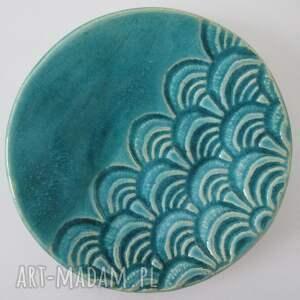 turkusowy malutki talerzyk - ,podstawka,pod,świeczkę,fusetka,turkusowa,ceramiczna,