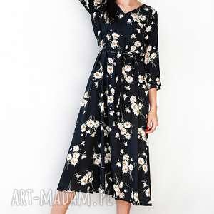 sukienki czarna sukienka w margaretki, sukienka, midi, uniwersalna, wygodna