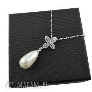 naszyjniki srebrny naszyjnik z perełką perłą pudełko, srebrny, naszyjnik, perła