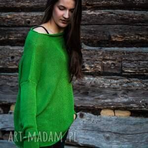 bluzka z dzianiny o luźnym kroju, oversize, bawełniana bluzka, sweter
