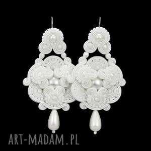 kolczyki ślubne divine pearly souatche, soutache, sutasz, rękodzieło, ekskluzywne
