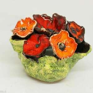 flower box kwiaty ceramiczne piękny duży wyjątkowy komplet handmade rekodzieło
