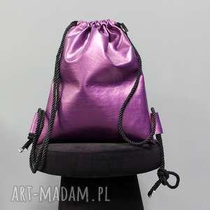 Prezent BBAG Fuksja, worek, plecak, skórzany, urodziny, prezent, metaliczny