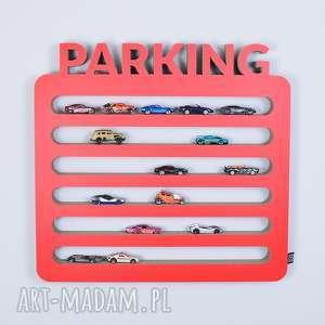 półka na resoraki, samochodziki parking czerwony, chłopiec, dziewczynka