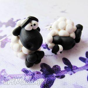 handmade kolczyki kolczyki okrągłe czarne owce