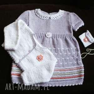 komplet lawendowy, komplet, rękodzieło, bawełna, niemowlę, sukienka, sweterek