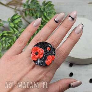 duży pierścionek czerwone maki regulowany, pierścionek, kwiaty