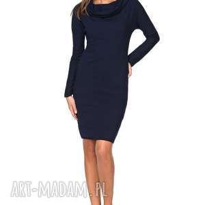 sukienka dresowa z szerokim kominem t191, granatowy, sukienka, dresowa, szeroki