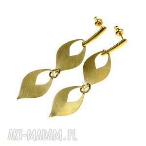kolczyki wiszące łezki w kolorze złotym rea2, nowoczesne kolczyki, długie