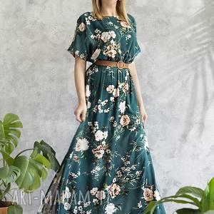 sukienki sukienka zielona maxi w kwiaty, sukienka, maxi, wiskoza, wygodna