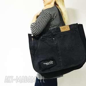 duża torba upcykling jeans 5 ck od majunto, torba, jeans, upcykling, eco