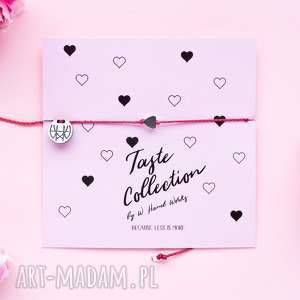 WHW Taste Tiny Graphite Heart On Red String , sznurkowa, sznureczkowa, delikatna