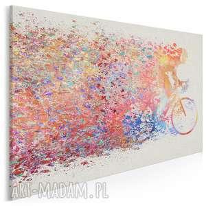 obrazy obraz na płótnie - rower kolarz kolory - 120x80 cm (63601)