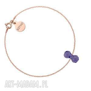 bransoletka z różowego złota kryształowym ciężarkiem swarovski crystal