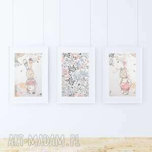 pokoik dziecka 3 plakaty - retro zajączki a3, zając, zajączek, kwiaty