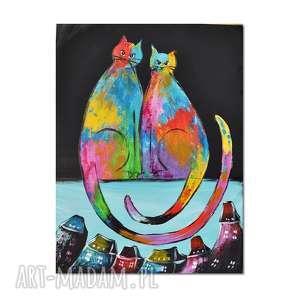 obrazy koty ml /1/, obraz ręcznie malowany, koty, obraz, ręcznie, dekoracja