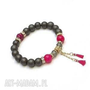 amarant /troki/ vol 3 - bransoletka, kamienie, minerały, matowa, chwosty, boho