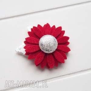 na święta upominki Spineczka do włosów kwiatuszek czerwono srebrny